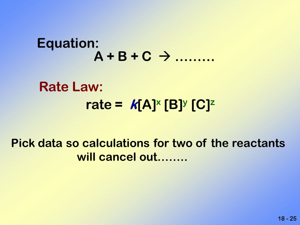 Equation: A + B + C  ……… Rate Law: rate = k[A]x [B]y [C]z
